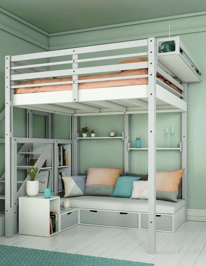 Installer une partie salon sous un lit en mezzanine | Idée ...