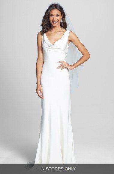 BLISS Monique Lhuillier Draped Neck Silk Crepe Wedding Dress (In ...