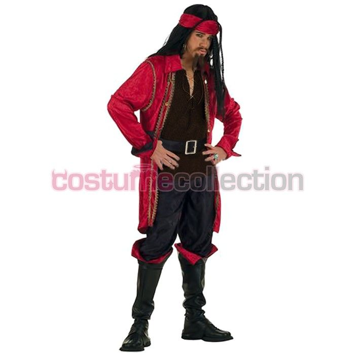 Adult Red Caribbean Pirate Halloween Party Outfit