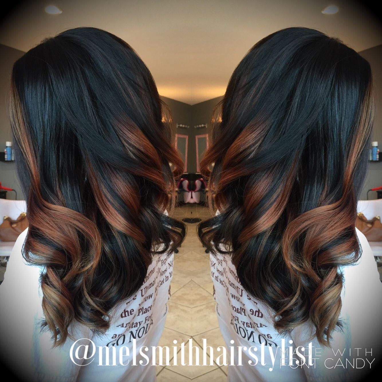 balayage hair | dark brown to caramel color melt