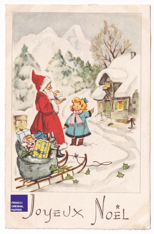 Joyeux Noel 1954 Carte Postale Vintage Luge Neige Hiver Hotte Cadeaux Jouet Poupee Graphisme Scandinave Pere Santa Claus Montagne Ephemera In 2020 Illustration Postcard Christmas Greetings