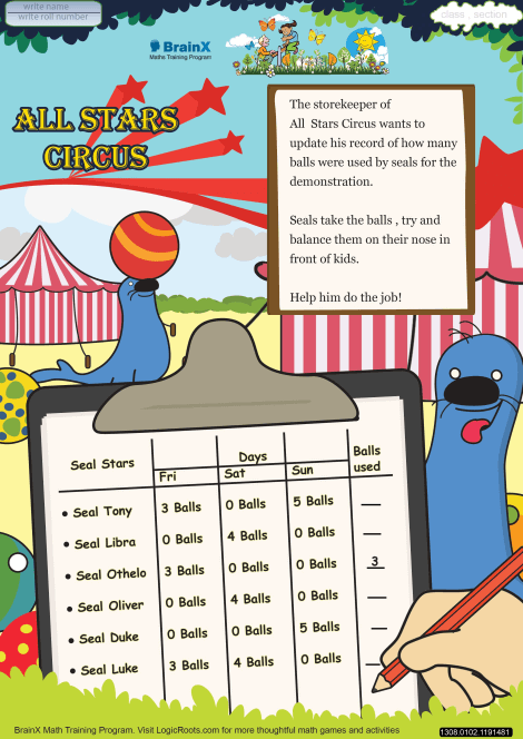 All Stars Circus Math Worksheet for Grade 1