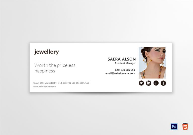 Jewellery Email Signature Template  Email Signature Designs