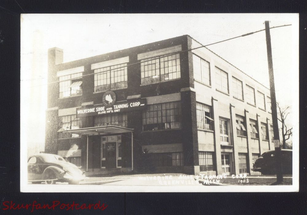 RPPC GREENVILLE MICHIGAN WOLVERINE SHOE FACTORY TANNING CO. OLD POSTCARD