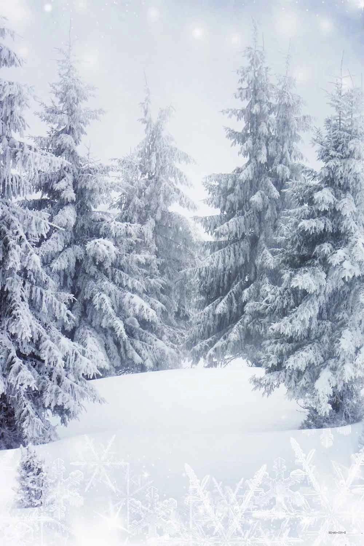Snow Backdrop Trees Winter for Photos CM-st-081-E – Dbackdrop