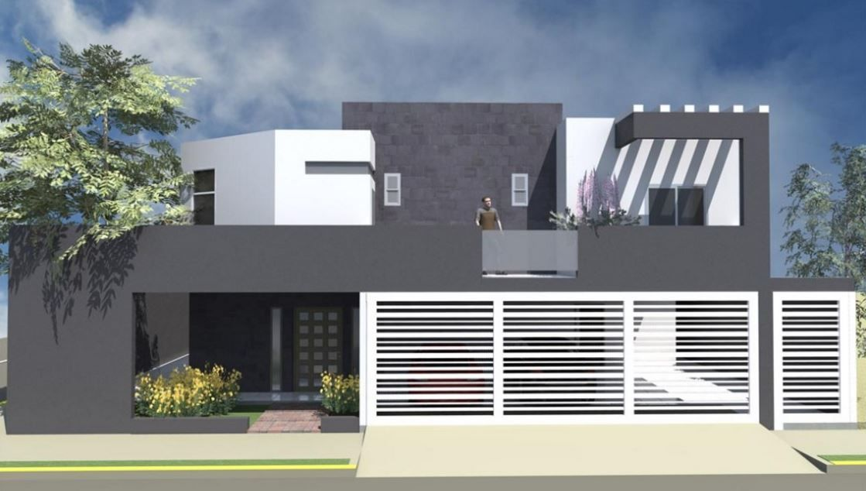 Fachadas de casas con rejas horizontales blancas for Casas grandes modernas