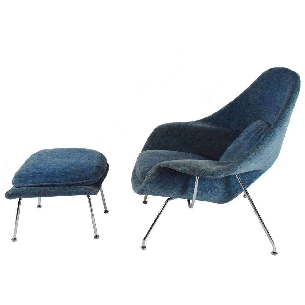 Eero Saarinen Womb Chair with Ottoman by Knoll
