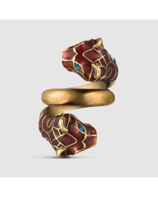 90027690a Men's Red Tiger Head Ring With Enamel | Milky Accessories | Gucci ...