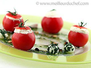 tomates cocktail en espuma de mozzarella et son pesto   cuisine