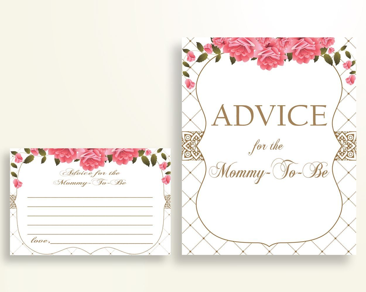 Advice Cards Baby Shower Advice Cards Roses Baby Shower Advice ...