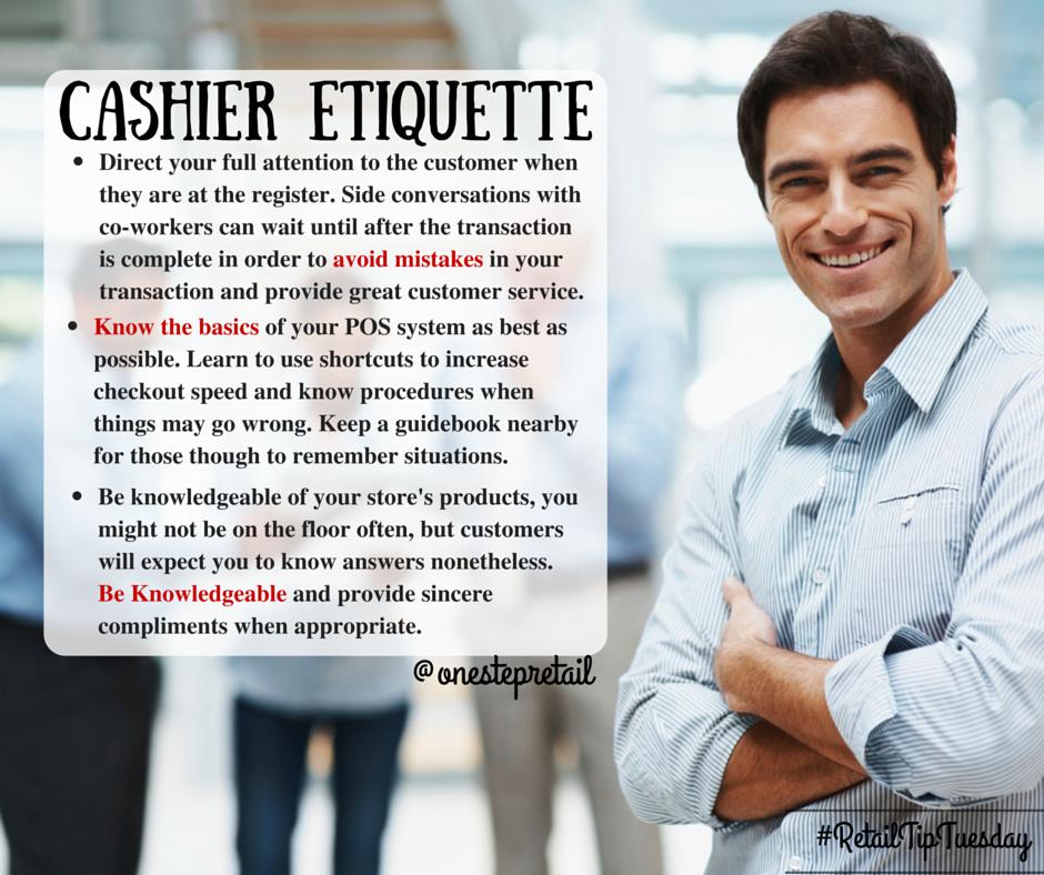 Retail Tip - Cashier Etiquette #onestep #retail #cashier | Retail ...