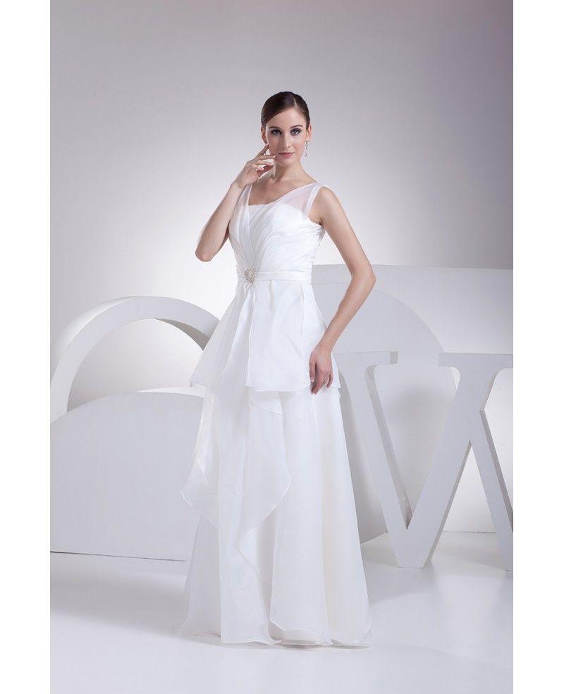 Elegant short wedding dresses  Elegant Organza Straps Long Wedding Dress with Ruffles OP