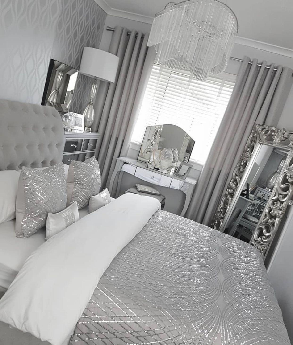 Check out @simonelovee ❤️  Silver bedroom decor, Comfortable