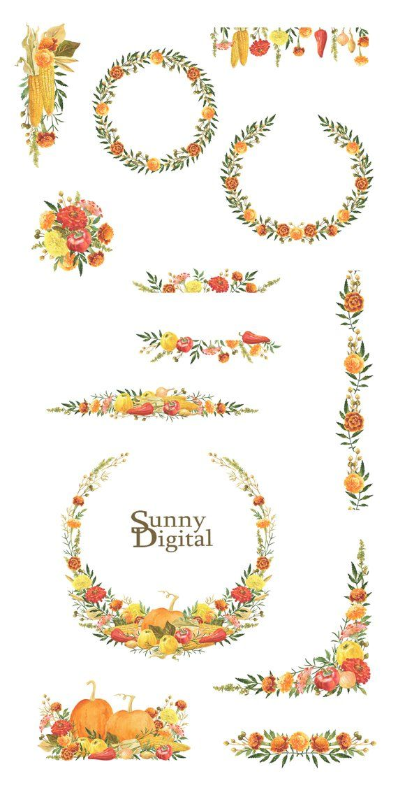 Harvest Bouquets Wreaths Seamless border Watercolor clipart Hand