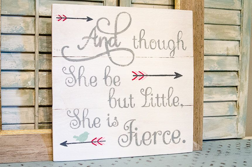 She Is Fierce Pallet Sign Baby Girl Nursery Sign Shakespeare