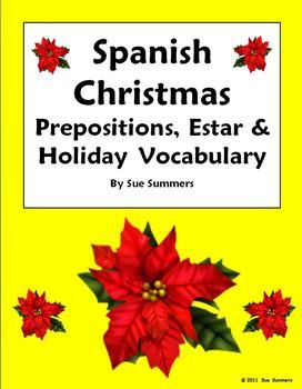 spanish christmas estar and prepositions worksheet navidad clase de espa ol espa ol y tabla. Black Bedroom Furniture Sets. Home Design Ideas