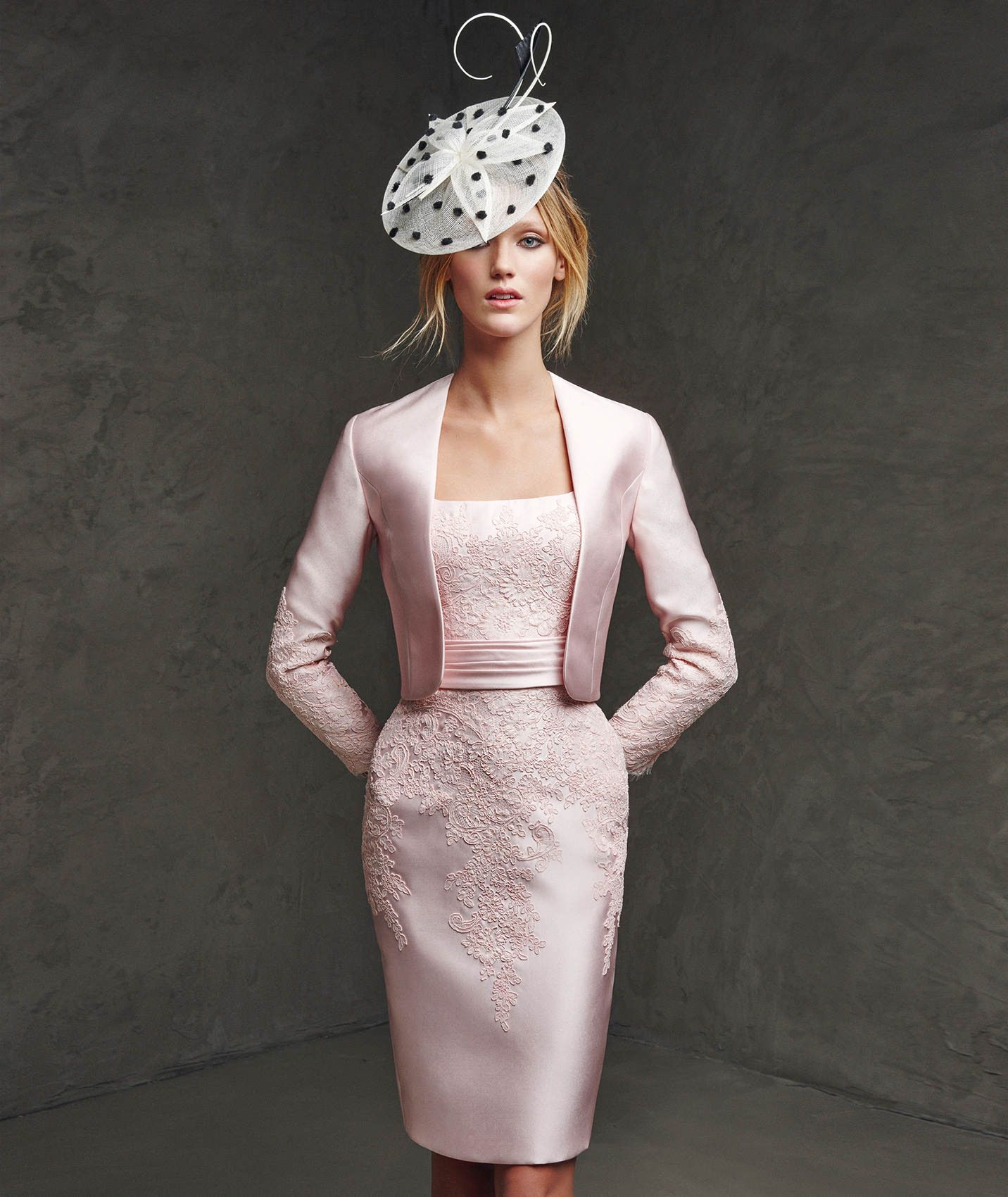 Square neck knee length pink satin sheath column mother of the bride