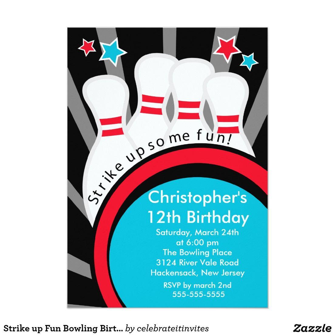 Strike Up Fun Bowling Birthday Party Invitation  Birthday Party