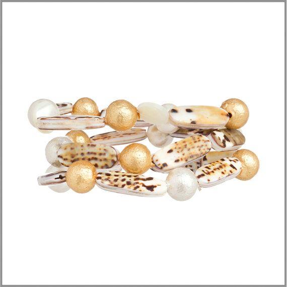 Set of 3 Tiger Conus & Gobstopper Pearl Bracelets by GemVault