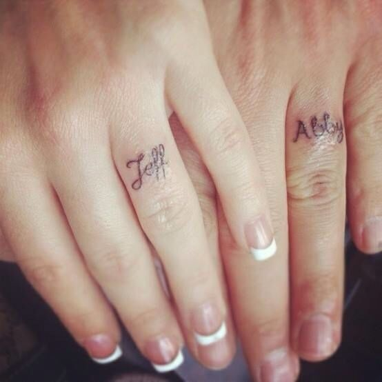 Name tattoo wedding rings too bad my name is so long Future