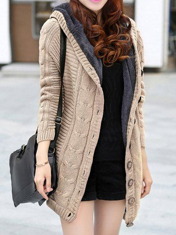 Long Sleeves Hooded Single Breasted Chunky Cable Knit Long Sections  Thickened Fleece Lined Casual Women s Cardigan 7833026f1