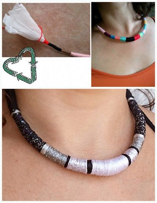 Diy Recycled Necklace Made Out Of Plastic Bags And