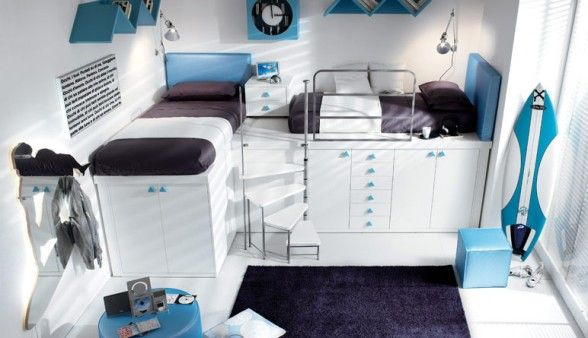Innovative and Modern Stylish White, Blue Bunk Bed and Loft design for teenagers