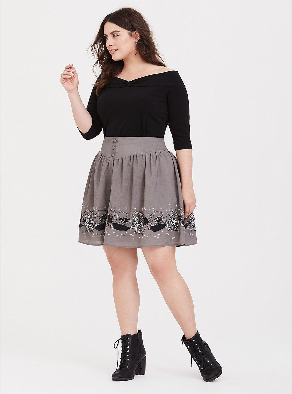 9fc1d707745 Plus Size Harry Potter McGonagall Grey Skater Skirt