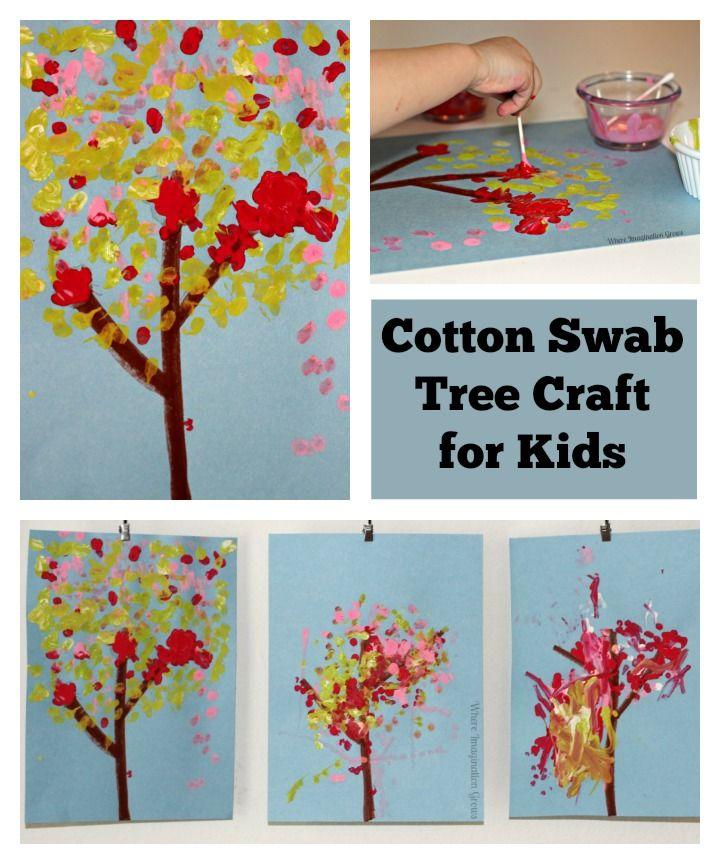 Cotton Swab Tree Craft For Kids Art Art Activities For Kids