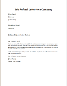 Job Refusal Letter To A Company Download At HttpWriteletter