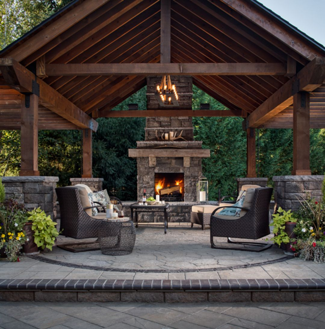 Marvelous Rustic Outdoor Fireplace Design