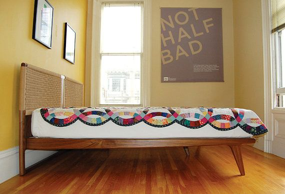 Best Double Rian Bed Mid Century Modern Danish Woven By 400 x 300