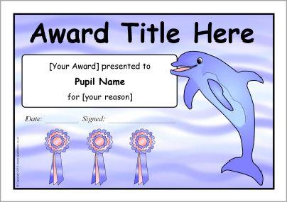 Editable Dolphin Themed Certificate Templates Sb10497 Sparklebox