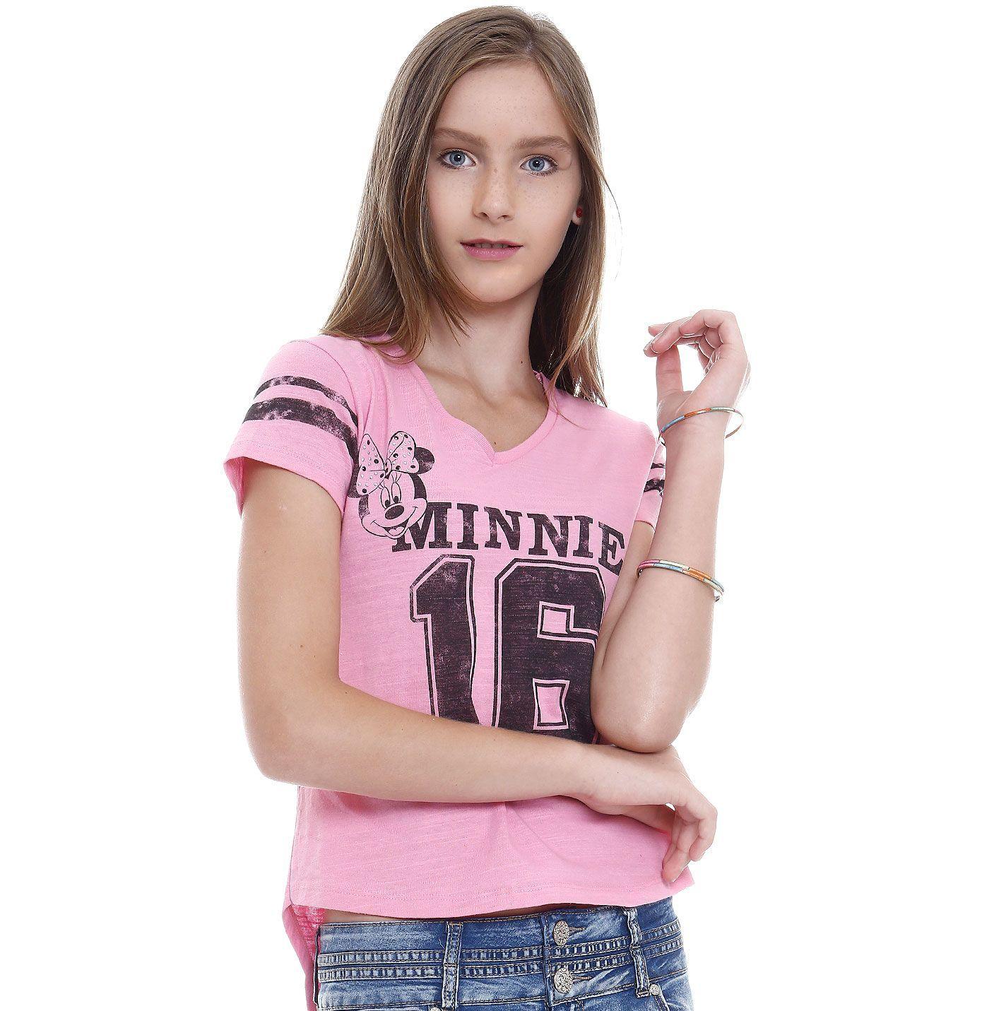 Blusa juvenil manga curta Minnie  092f0db2f79c3