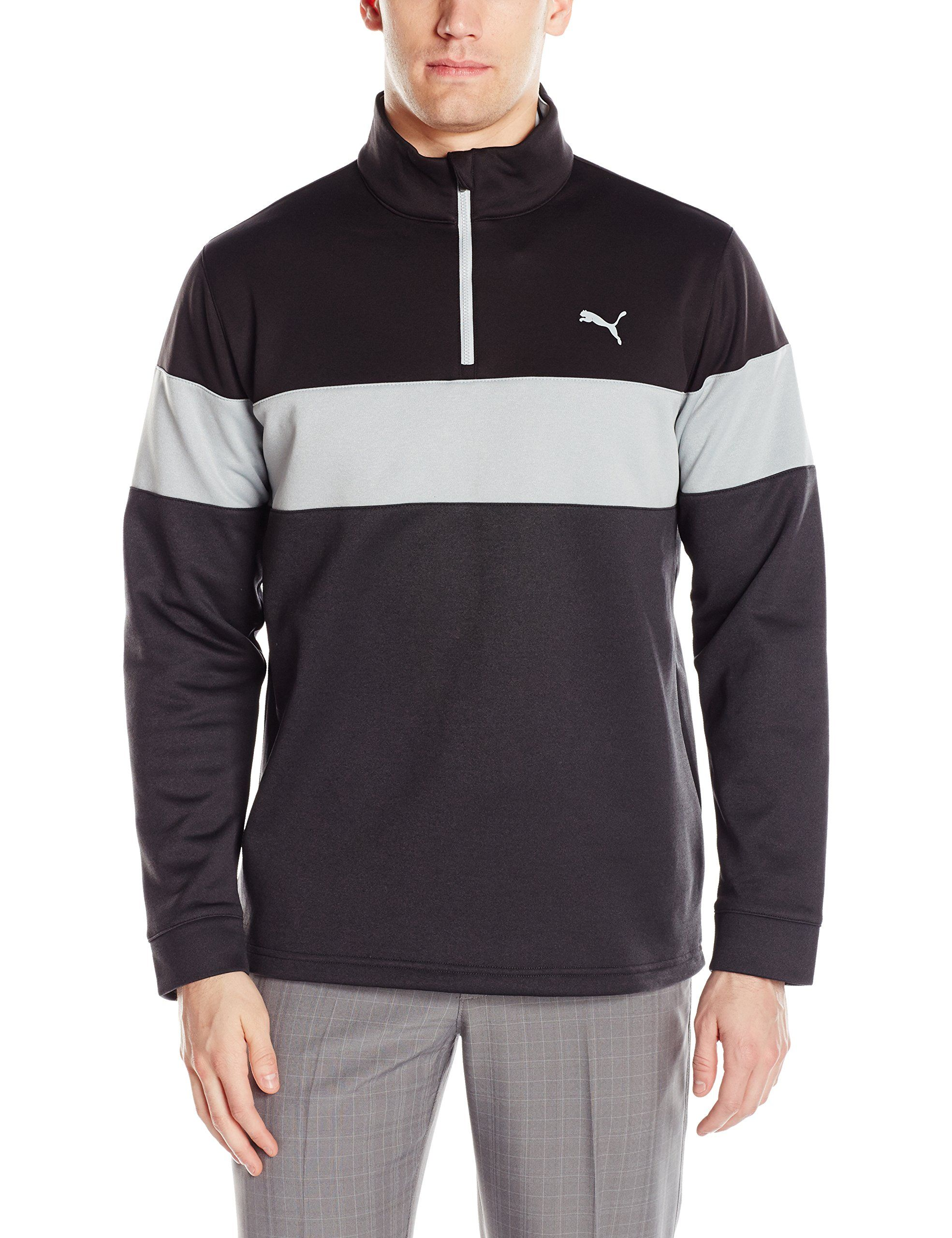 5739cbc5f686 Men Golf Clothing     PUMA Golf 2017 Mens Pwrwarm 1 4 Zip Popover Dark Grey  Heather Black Medium -- More info might be found at the picture link.