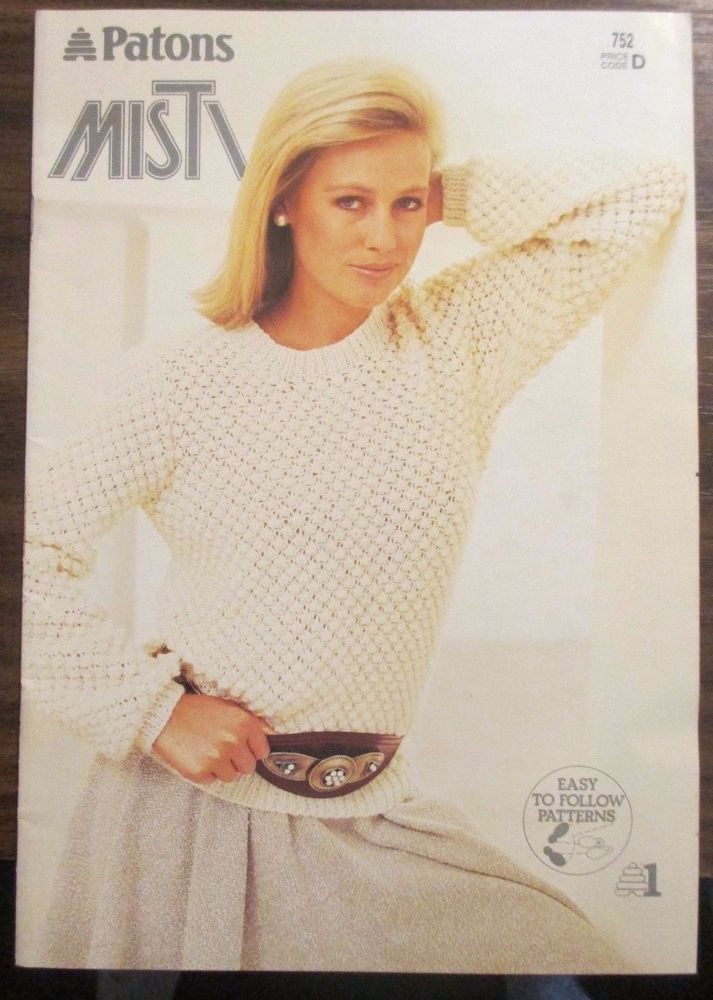Patons Misti knits pattern book no.752 Ladies jumpers vest ...
