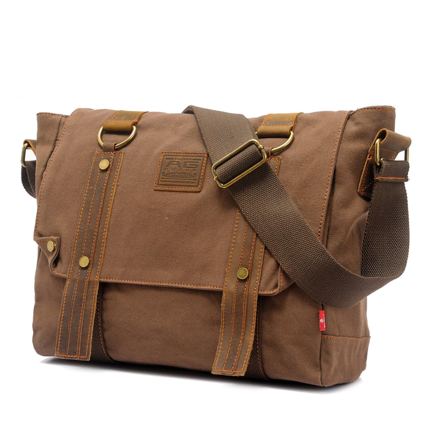EcoCity Vintage Leather Canvas Shoulder Messenger Bags School Satchel Bag (Coffee)