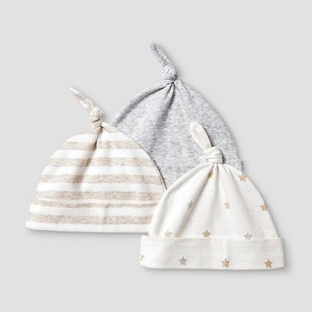 a1446182933 Baby Girls  2 Pack Organic Hats Baby Cat   Jack™ - White Heather Grey    Target