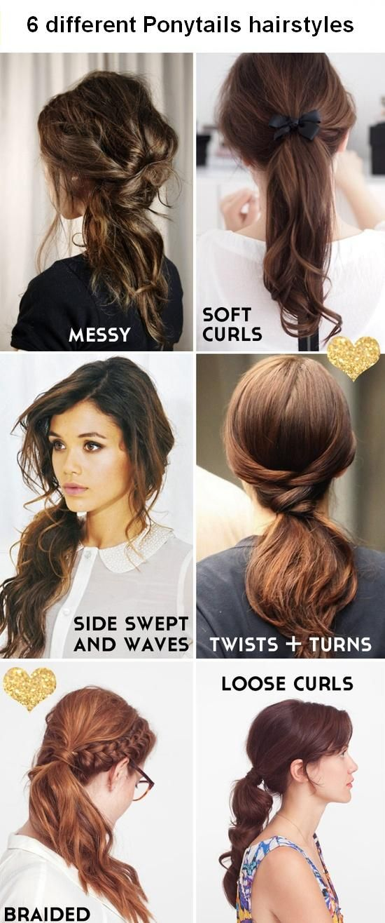 6 different Ponytails hairstyles... I usually opt for the first one but maybe this will inspire me to look like someone you'd run into at Target instead of the crazies at Walmart. Haha.