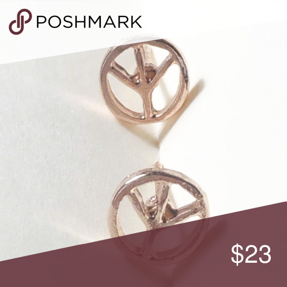 Download NEW 3 FOR 35 ROSE GOLD TINY PEACE EARRINGS Boutique ...