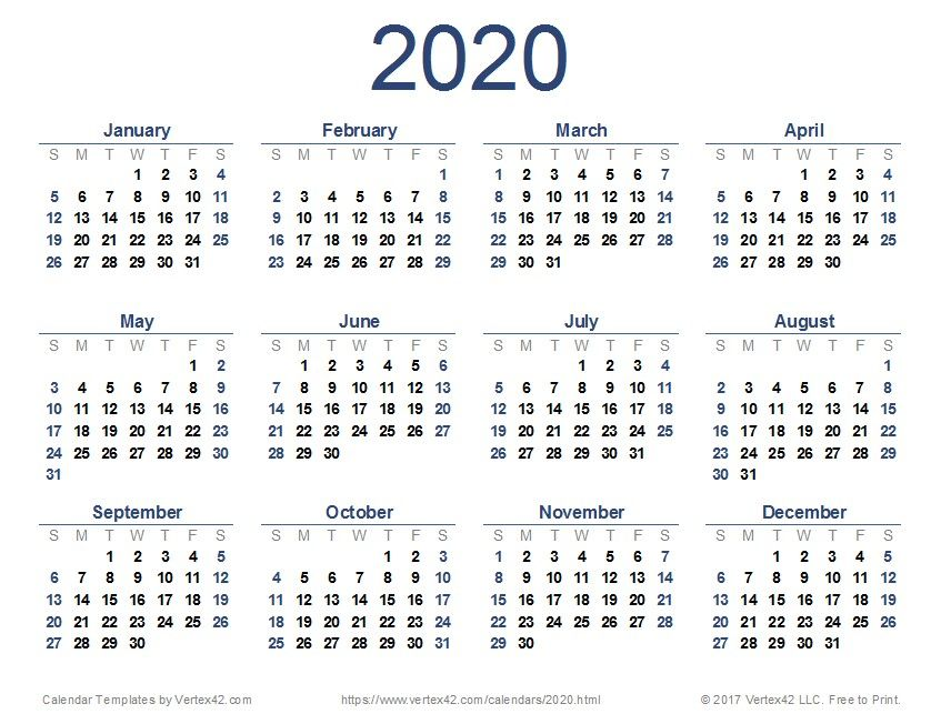 2020 Printable Calendar Template Printable Yearly Calendar