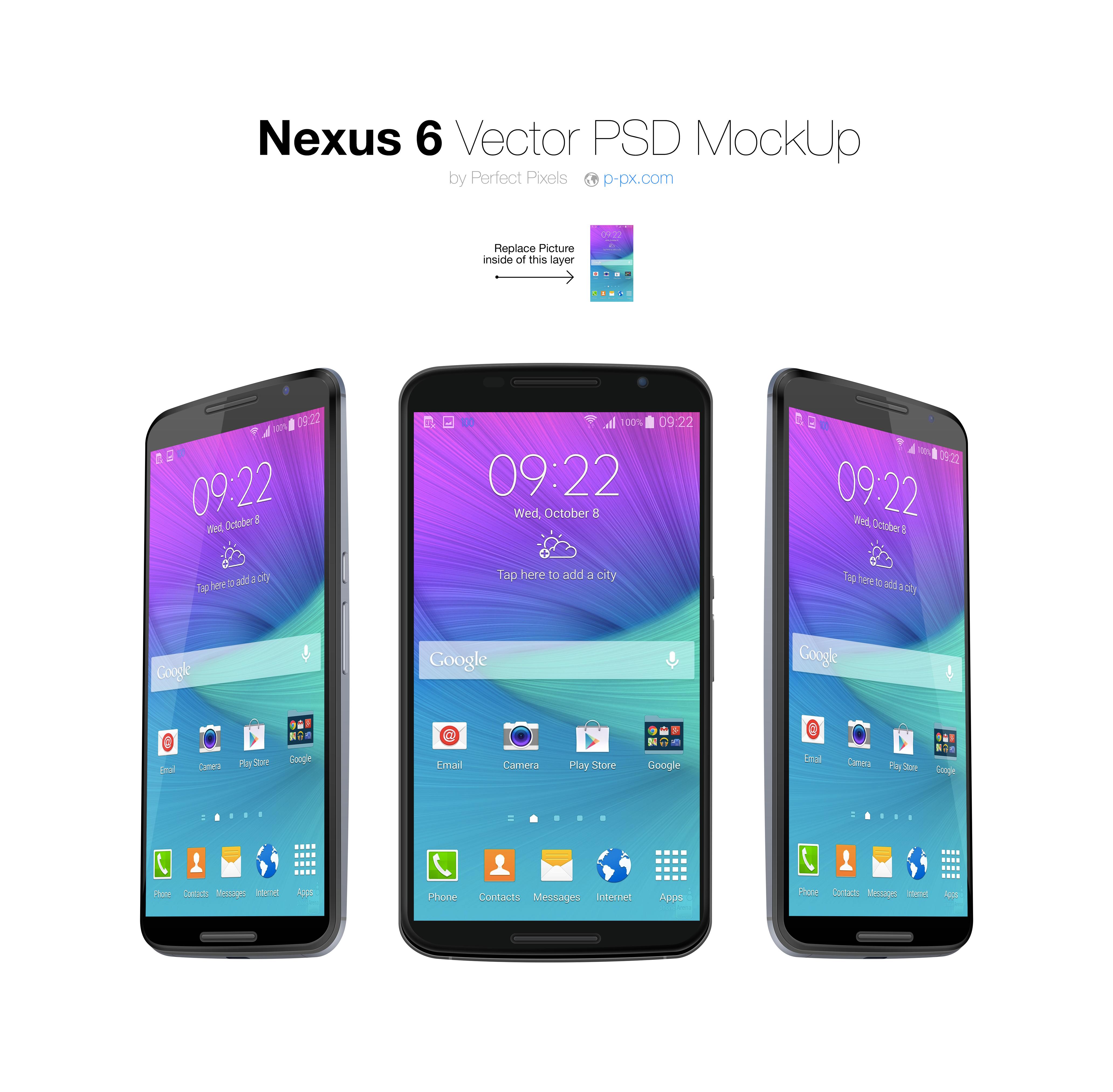 Nexus 6 Front + 3/4 views Vector PSD MockUp