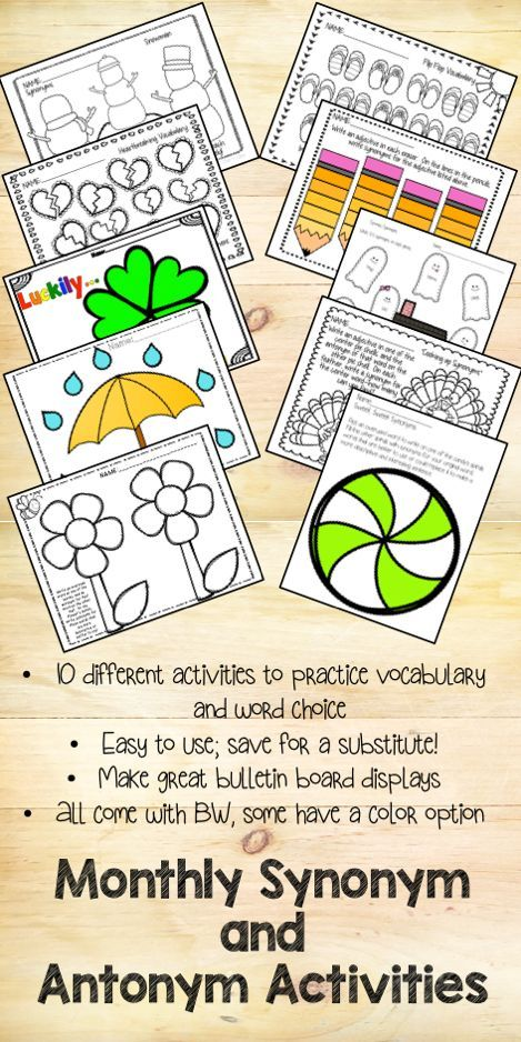 Monthly Synonym and Antonym Activities Activities, School and - synonym for resume