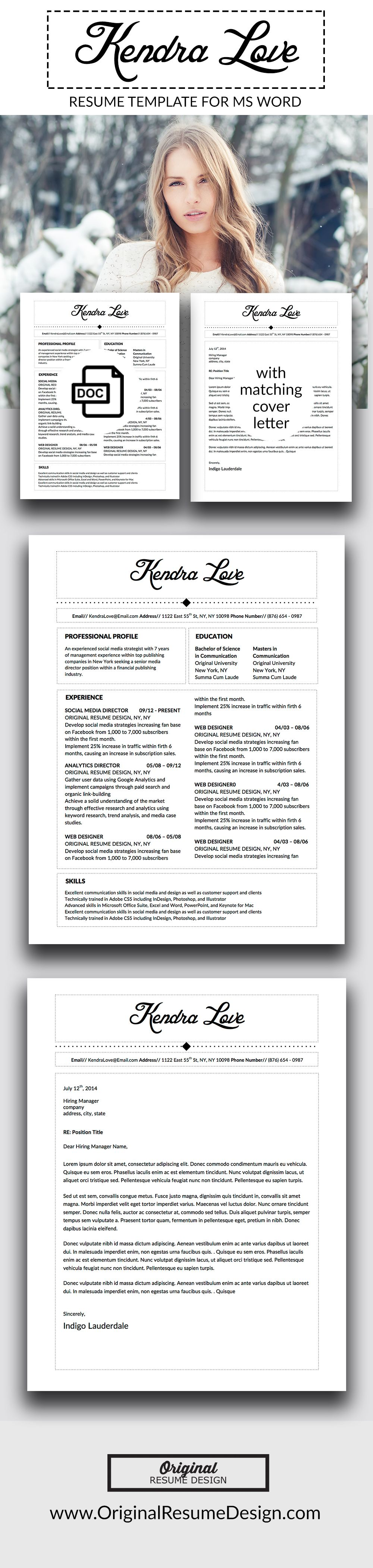Beautiful and elegant resume design for Microsoft Word. Includes a ...