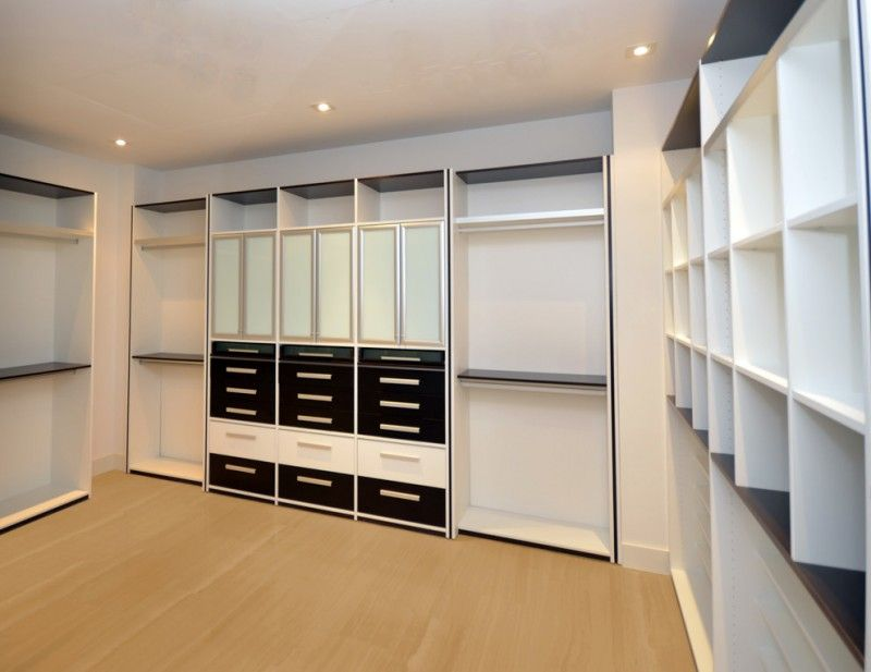 Modern Custom Walk In Closet In Monochromatic Color Light Wood Color  Flooring System Of Dozens Of