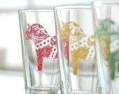 Dala Horse, screen printed glassware, multi color, set of 8 pint glasses
