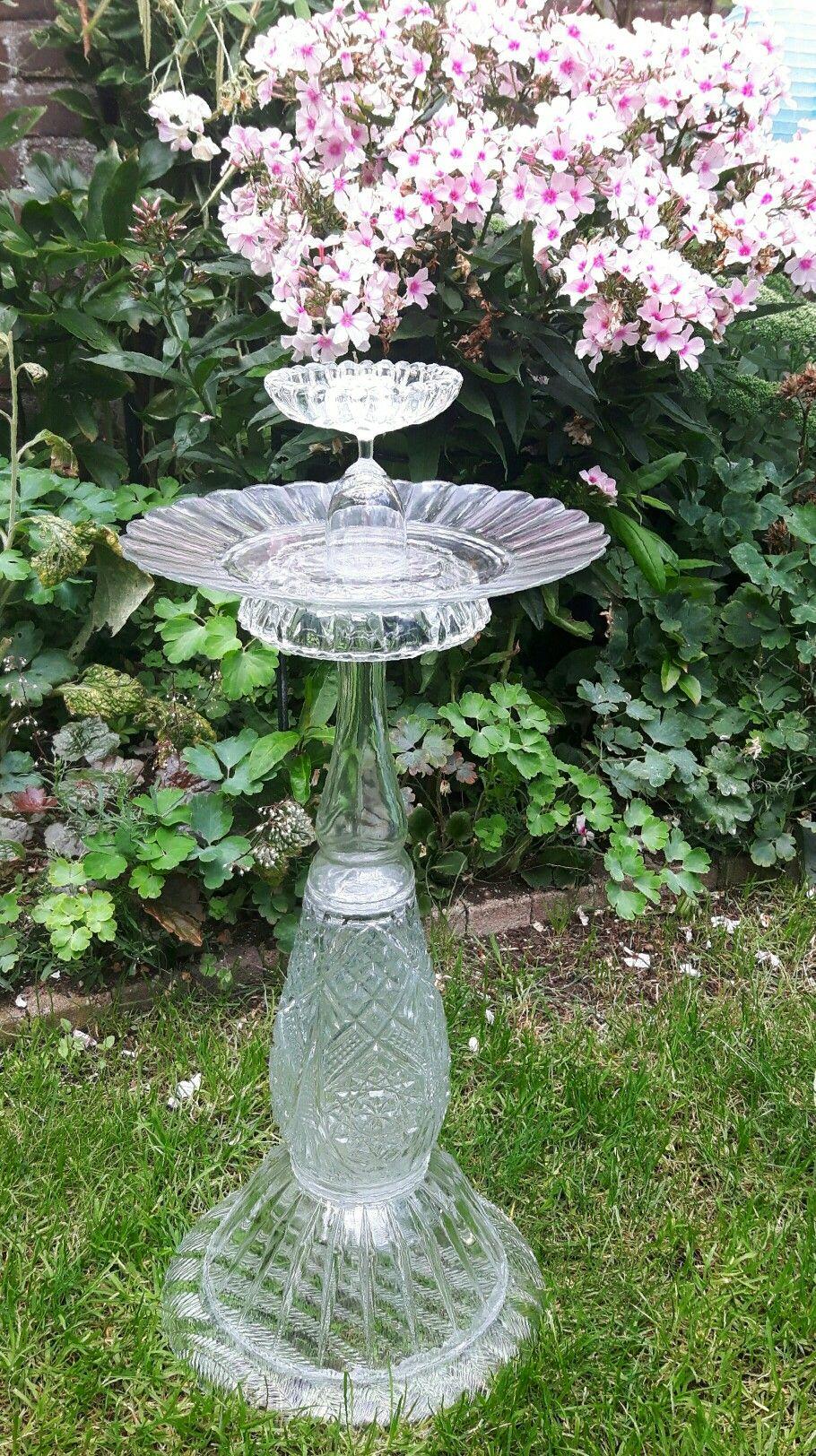Glass Birdbath / bird feeder