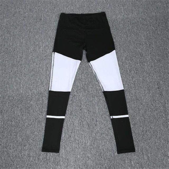 NCLAGEN 2017 New Arrival Women Black White Patchwork Pant Sexy Slim Fit Trousers Elastic Leggings Workout Bottoms Size S-L