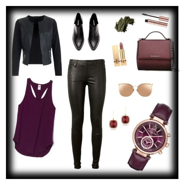 """""""Purple watch"""" by sensiiii on Polyvore featuring Michael Kors, AG Adriano Goldschmied, Givenchy, Anne Sisteron, Bobbi Brown Cosmetics, Yves Saint Laurent and Linda Farrow"""
