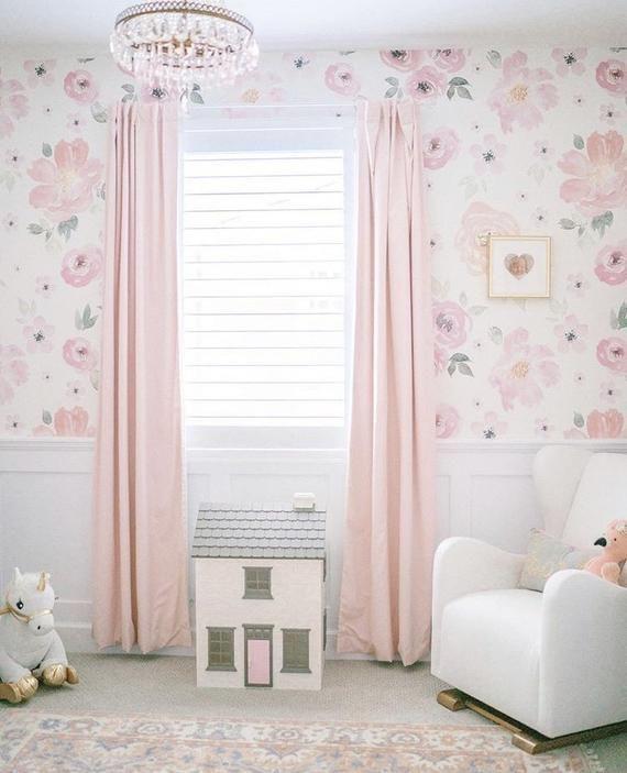 Bella Wallpaper Removable Wallpaper Peel And Stick Wallpaper Nursery Wall Decor Floral Wallpaper Girl Room Toddler Girl Room Girls Bedroom